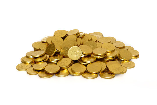 Chocolate coins on a white background