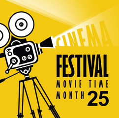 Vector cinema festival poster with old fashioned movie camera. Movie background with words movie time. Can used for banner, poster, web page, background