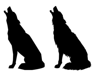Silhouettes howl a wolf or a dog. Isolated objects, vector illustration