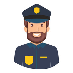 colorful portrait half body of bearded policeman vector illustration