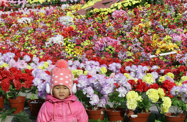 A child poses for a photo next to a bed of plastic flowers during the Chinese Lunar New Year in Beijing