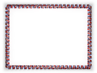 Frame and border of ribbon with the Swaziland flag. 3d illustration