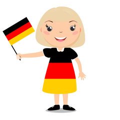 Smiling child, girl, holding a Germany flag isolated on white background. Cartoon mascot. Holiday illustration to the Day of the country, Independence Day, Flag Day.