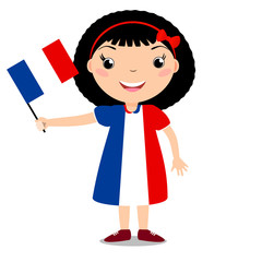 Smiling child, girl, holding a France flag isolated on white background. Cartoon mascot. Holiday illustration to the Day of the country, Independence Day, Flag Day.