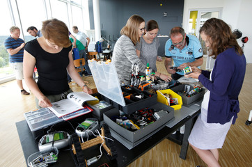 People work together in creative zone of Bosch research and advance development centre Campus in Renningen