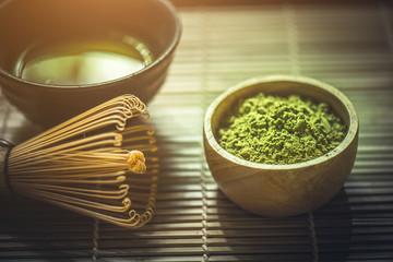 Green Matcha Tea in a Bowl