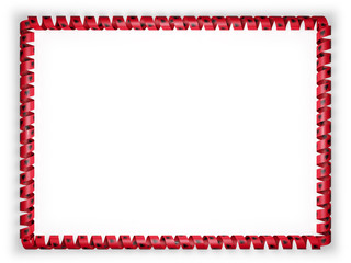 Frame and border of ribbon with the Albania flag. 3d illustration