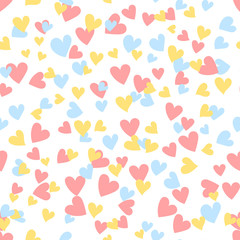 Cartoon hearts seamless pattern. Saint Valentine day symbol background. Vector illustration for any design