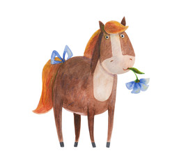 Pony with blue flower. Watercolor illustration. Hand drawing