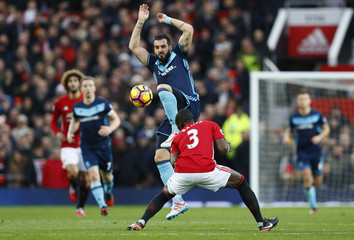 Middlesbrough's Alvaro Negredo in action with Manchester United's Eric Bailly