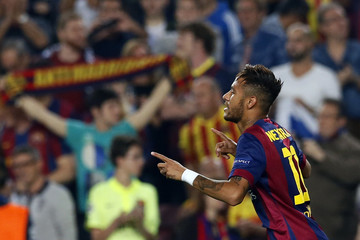 Barcelona's Neymar celebrates after scoring a goal against Ajax Amsterdam during their Champions League soccer match in Barcelona