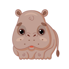 Cute cartoon hippo in kawaii style. Isolated on white background.