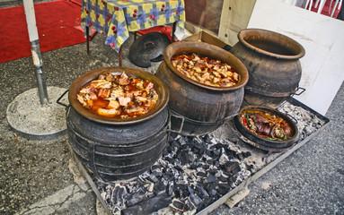 Pork stew in a clay pot