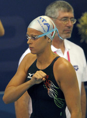 Pellegrini of Italy prepares to compete in the women's 200m freestyle heats during the 2012 European Swimming Championship in Debrecen