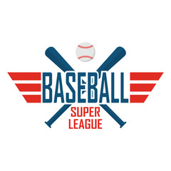 Vector baseball logo with ball and bats in retro style. Isolated on white background.