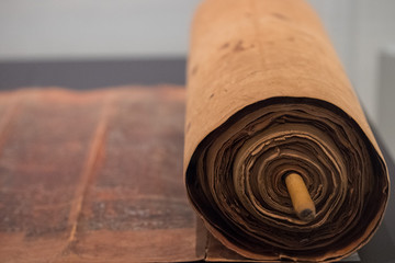 old torah scroll book close up