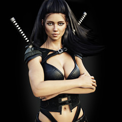 Beautiful ninja female assassin , confident pose on a black background. 3d rendering