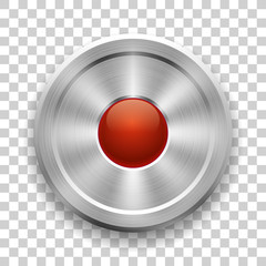 Metal button on a transparent background, glossy red ball in the center, vector metallic texture, round element for you project design