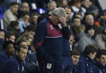 Aston Villa manager Steve Bruce looks dejected