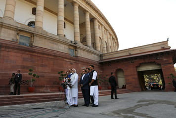 India's PM Modi speaks with the media inside the parliament premises on the first day of the budget session in New Delhi