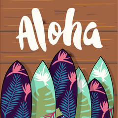 Collection of surfboards with tropical leaves print. Vector hand drawn illustration.