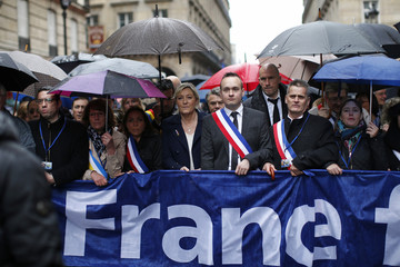 France's far-right National Front political party leader Marine Le Pen attends the party's traditional May Day tribute to Joan of Arc in Paris