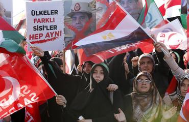 Pro-Islamic Turks take part in a demonstration supporting deposed Egyptian President Mohamed Mursi in Istanbul