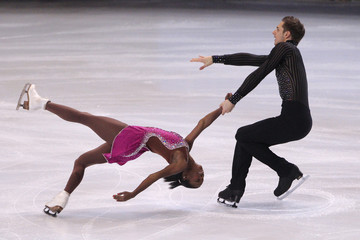 James and Cipres of France perform during the pairs short program at the Bompard Trophy ISU Grand Prix of figure skating competition in Paris