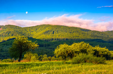 moonrise over the mountain in rural area at sunset