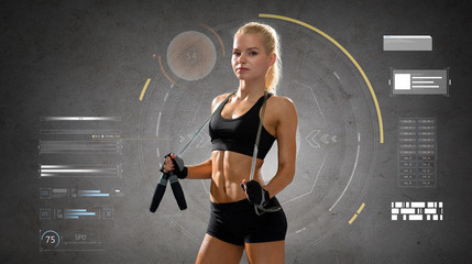 young sporty woman with jumping rope