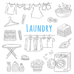 Laundry service hand drawn doodle icons set, vector illustration.