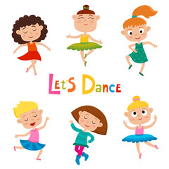 Vector cartoon illustration of little graceful girls-dancer isolated on white