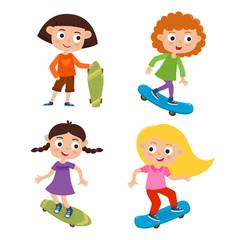 Summer activity skateboarding concept. Vector set of skateboarde