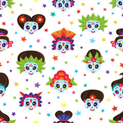 Seamless pattern with colorful skulls and stars for day