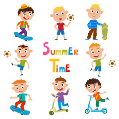 Vector set of summer child's outdoor activities isolated on whit