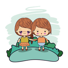 color picture couple kawaii kids taken hands in forest vector illustration