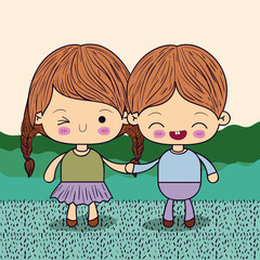color picture couple kawaii kids taken hands in grass vector illustration