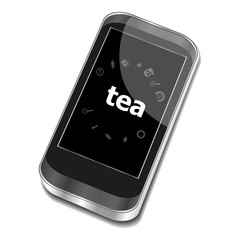 Text Tea. Food concept . Smartphone with web application icon on screen . Isolated on white
