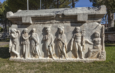 Beautiful carved sarcophagus with Mercury leading the souls in Aphrodisias, Geyre, Caria, Turkey