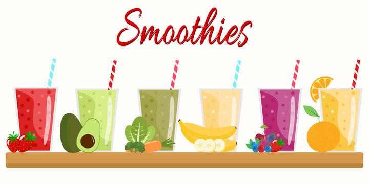 Cartoon smoothies. Orange, strawberry, berry, banana and avocado smoothie. Organic fruit shake smoothie. Flat design. Vector illustration.