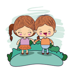 color picture couple kawaii wink kids taken hands in forest vector illustration