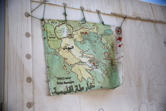 A map of Greece hangs on a tent at the Souda municipality-run camp for refugees and migrants on the island of Chios