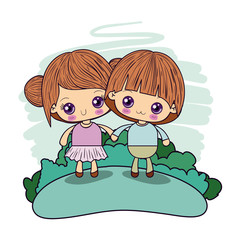 color picture couple kawaii girl collected hair with boy taken hands in forest vector illustration
