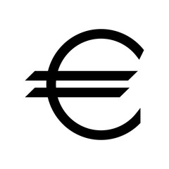 Euro symbol the black color icon.