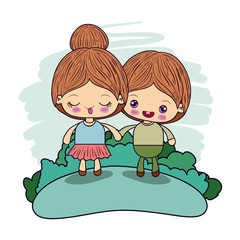 color picture couple kawaii girl collected hair with adorable boy taken hands in forest vector illustration