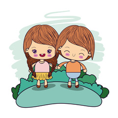color picture couple kawaii girl braids hair with wink expression boy taken hands in forest vector illustration