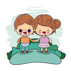 color picture couple kawaii wink girl collected hair with in love boy taken hands in forest vector illustration