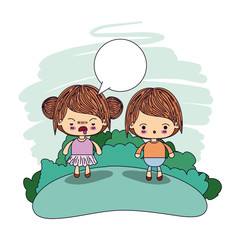 color picture couple kawaii wink girl collected hair with dialogue box and boy surprised vector illustration