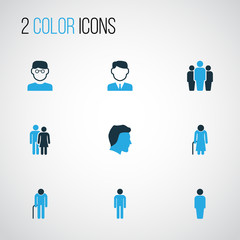 Human Colorful Icons Set. Collection Of Client, Oldster, Worker And Other Elements. Also Includes Symbols Such As Head, Couple, Team.