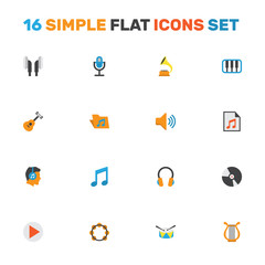 Multimedia Flat Icons Set. Collection Of Tone, Pianoforte, Acoustic And Other Elements. Also Includes Symbols Such As Media, Shellac, Phonograph.
